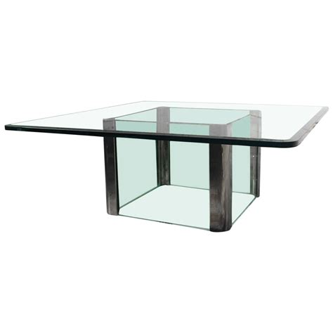 furniture beautiful glass and chrome pace collection chrome and glass square coffee table for sale at 1stdibs