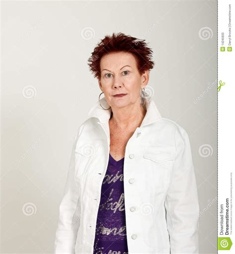 older women funky older woman funky hair white jacket half stock photos