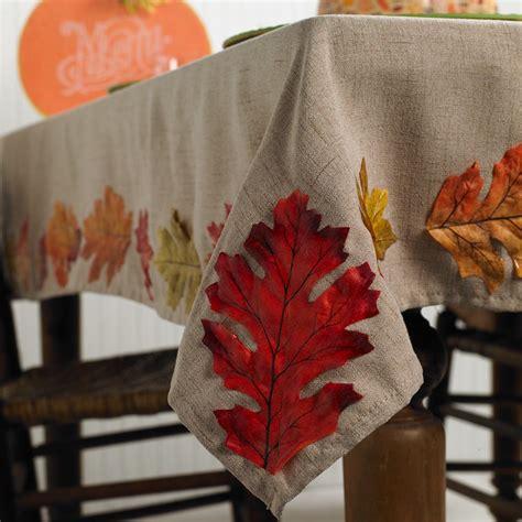 diy leaf tablecloth  thanksgiving  fall decorating