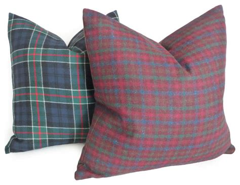 wool plaid pillows in merlot blue and green rustic decorative pillows vancouver by