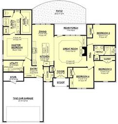House Plans With And Bathroom by Ranch Style House Plan 4 Beds 2 Baths 1875 Sq Ft Plan