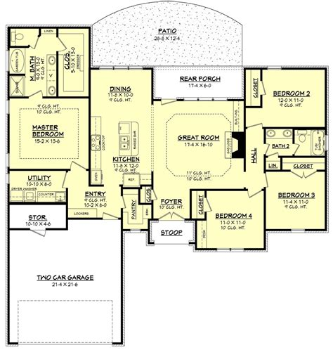 Ranch Style House Plan 4 Beds 2 Baths 1875 Sq Ft Plan 4 Bedroom House Plans With Office