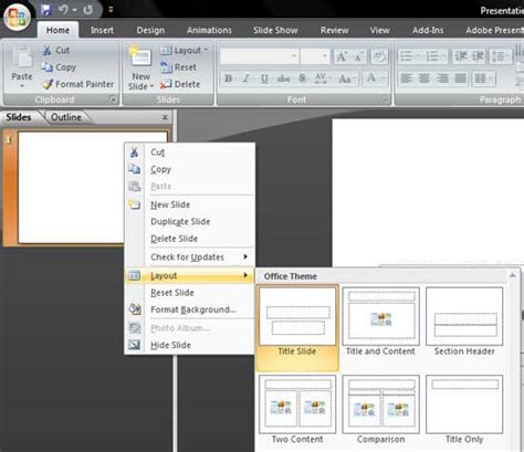 layout slide powerpoint 2007 change slide layout in powerpoint 2007 for windows