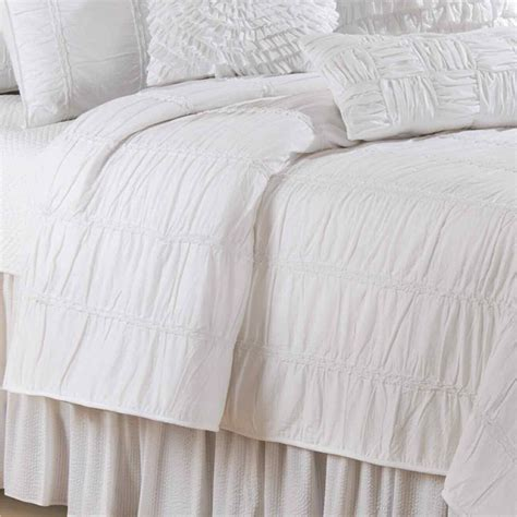 White Cotton Quilt by Blanca Ruched White Cotton Quilt Bedding