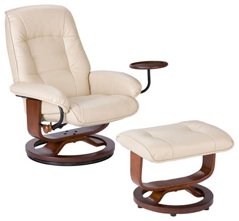 Recliner Chair And Ottoman Hemphill Leather Recliner And Ottoman Taupe Contemporary Recliner Chairs By Shop Chimney