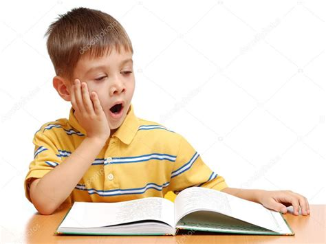 boy and boy reading book and yawning isolated on white background