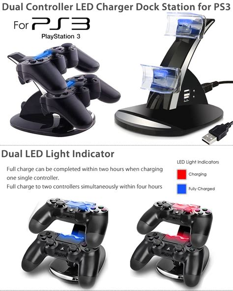 ps3 dual controller charger for playstation 3 ps3 dual controller charger led charging