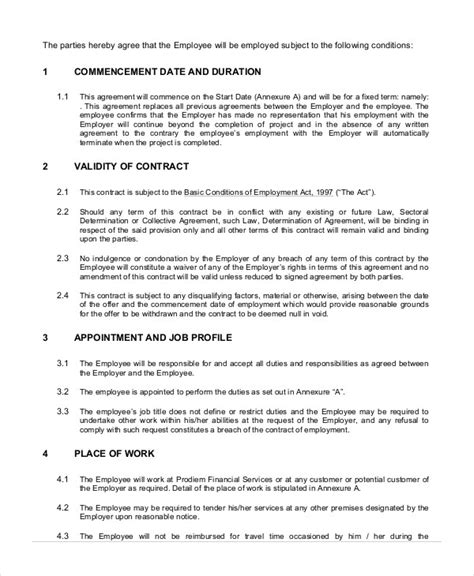 terms of employment contract template employment contract template 15 free sle exle