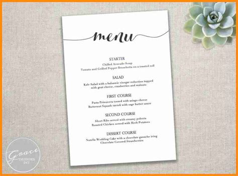 free wedding menu template for word 8 free menu template for word model resumed