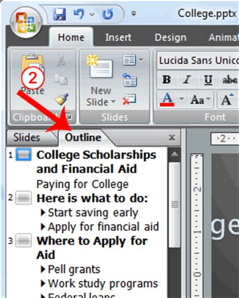 Powerpoint Outline Tab by M A Audits Academi Lesson 3 Animations Transitions Spell Check Outline Tab Slides Tabs