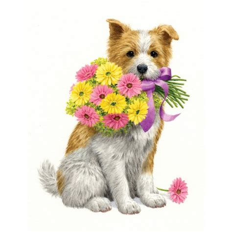 puppy with flowers puppy with flowers