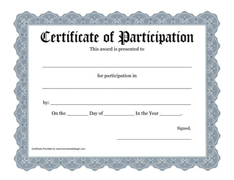 Participation Certificate Template Free best photos of template of certificate recognition