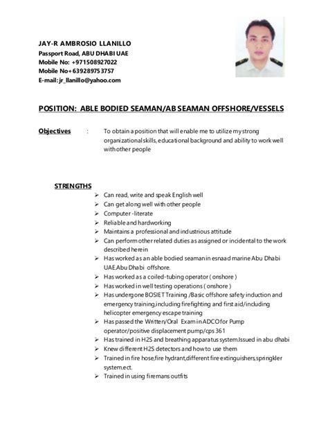 Sample Resume Objectives For Any Job by Jay R Cv Ab Seaman 2 Version