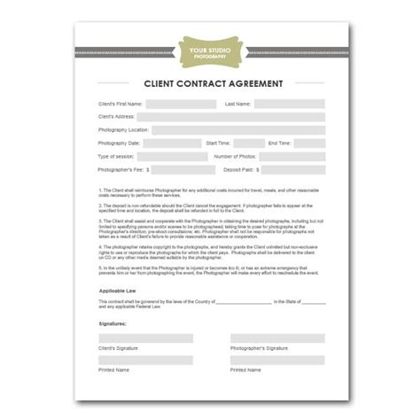 Photographer Contract Template squijoo photography contract template awesome