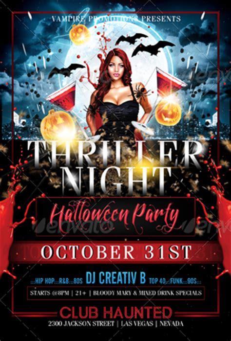 thriller night halloween flyer template  creativb