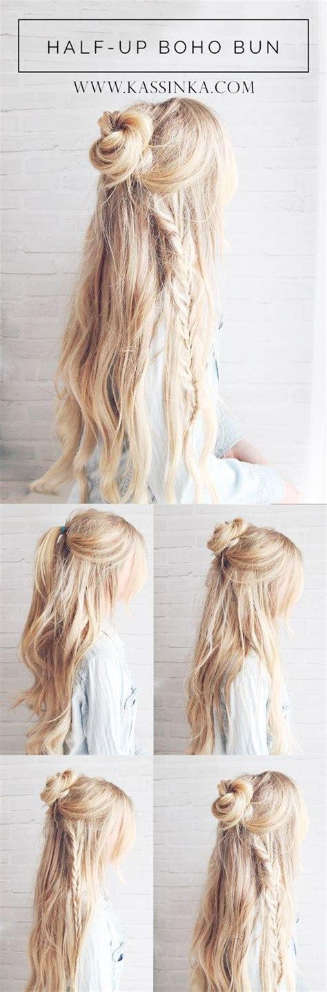 Easy Braided Hairstyles Tutorials by Best 25 Half Up Bun Ideas On Half Bun Half