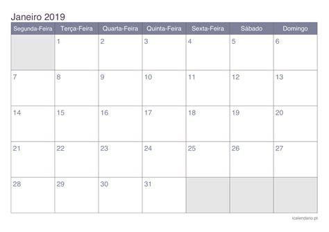 Calendã Janeiro 2019 Calend 225 Janeiro 2019 Para Imprimir Icalend 225 Pt