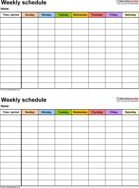 schedule template free free weekly schedule templates for pdf 18 templates