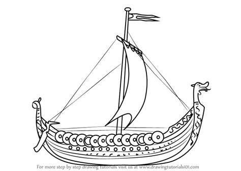 boat drawing tutorial learn how to draw a viking ship boats and ships step by