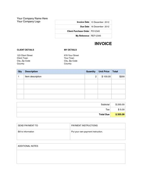 7 Blank Invoice Word Document word document invoice template blank invoice template word