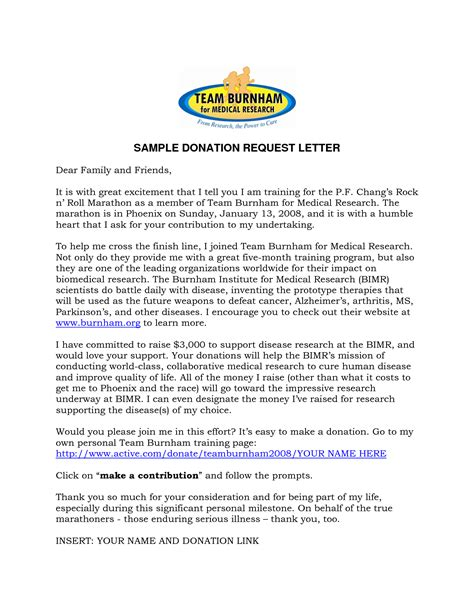 sample donation request letter template cover