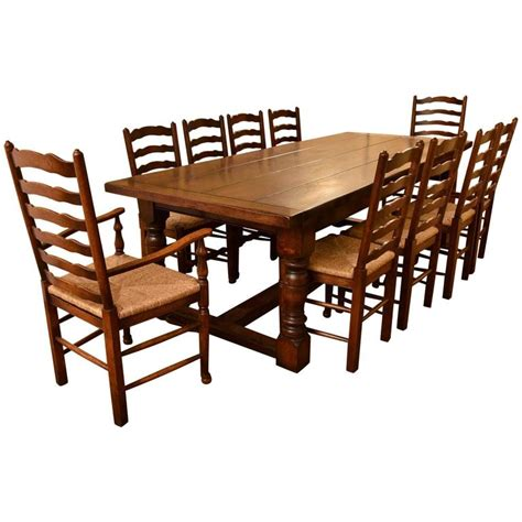 Oak Refectory Dining Table Bespoke Solid Oak Refectory Dining Table And Ten Chairs For Sale At 1stdibs