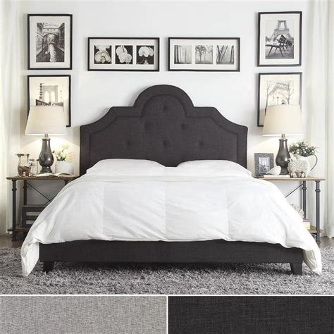 high tufted headboard bed inspire q harper tufted high arching grey linen