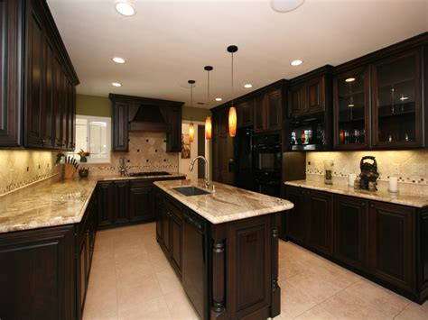 dark kitchen cabinets with light granite countertops traditional ceiling light fixtures dark kitchen cabinets