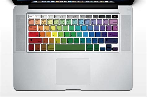 colorful mac computer colorful rainbow macbook keyboard stickers gadgetsin