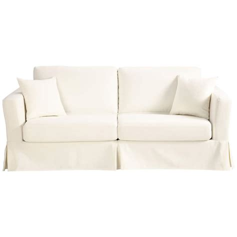 Ivory Sofa Bed by 3 Seater Cotton Sofa Bed In Ivory Royan Maisons Du Monde