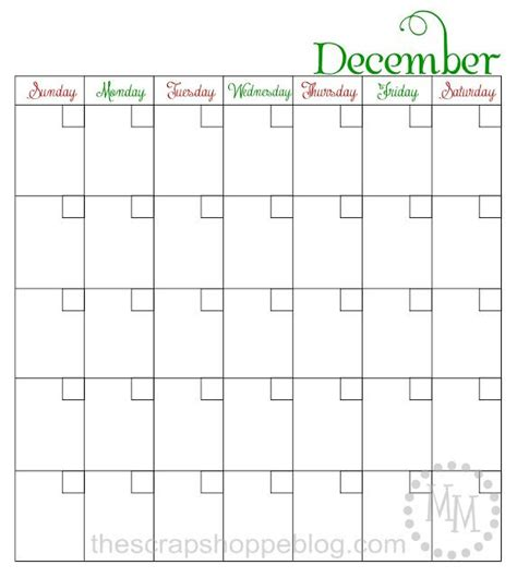 blank december children s calendar blank printable december calendar perfect for elf on the