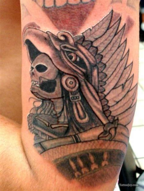 aztec god tattoos aztec war on left half sleeve