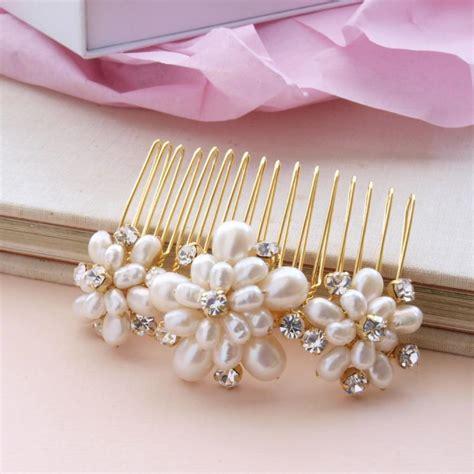 Wedding Hair Accessories Pearl Uk by Wedding Pearl Hair Comb Gold Bridal Hair Accessories Ivory