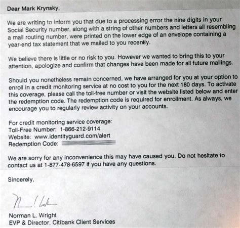 Bank Error Letter To Customer citibank exposed social security numbers on printed