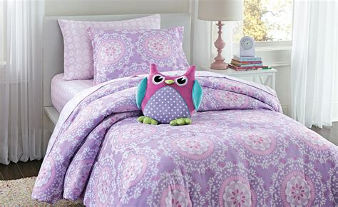 crb 2 pc medallion twin comforter set purple