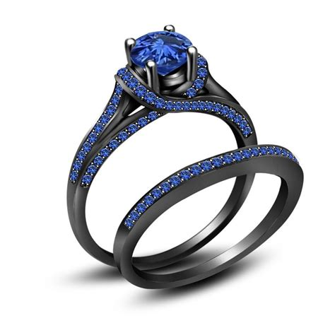Black Ring by 3 50 Ct Blue Sapphire Black 925 Sterling Silver