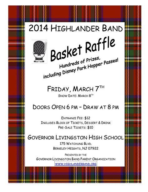 2014 Annual Governor Livingston Highlander Marching Band Basket Raffle News Tapinto Basket Raffle Flyer Template