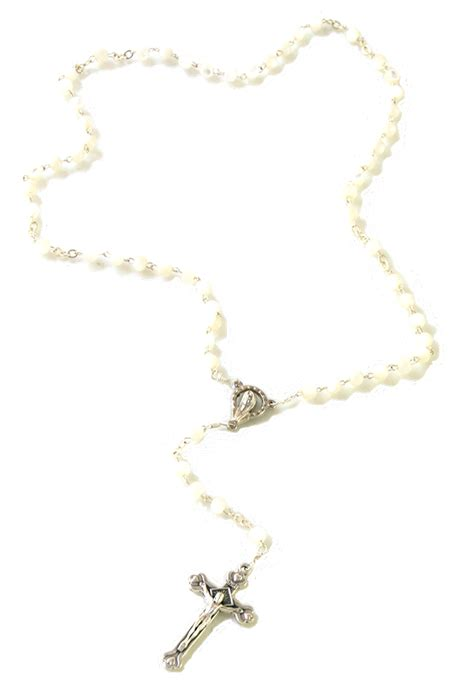 white rosary angelic of pearl rosary