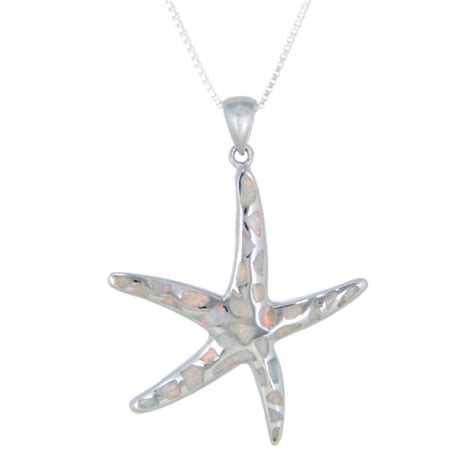 sterling silver white opal starfish necklace large