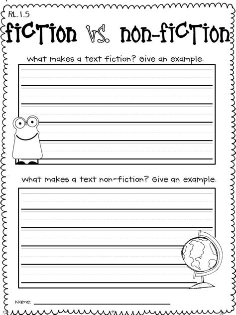 Nonfiction Worksheets by 28 Fiction And Nonfiction Worksheets Genres