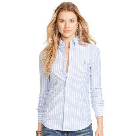 Oxford Strippy Shirt Brown polo ralph striped knit oxford shirt in blue harbor island blue white lyst