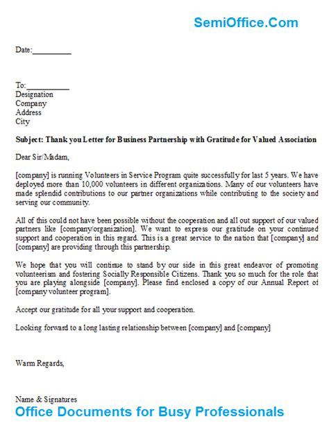 Support Letter Partnership Thank You Letter For Business Partnership With Gratitude For Valued Association