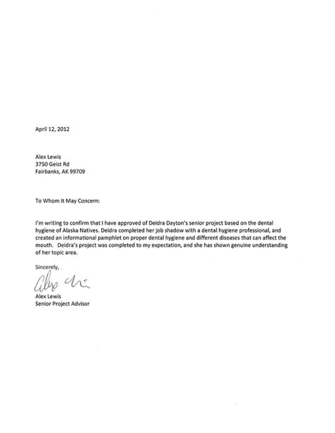 Letter Of Recommendation For Research Project Advisor Evaluation Dayton S Senior Project