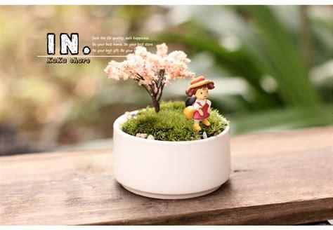 Vas Bunga Keramik Putih rumah mikro dekorasi taman bulat putih berair pot bunga