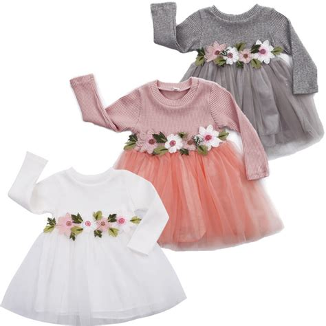 Pko Dress Floral 114 3colors 1pcs baby dress flower birthday princess pageant prom dress 3m 3y in