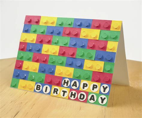 Card And Papercraft - 3d paper lego birthday card allfreepapercrafts