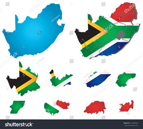 vector map south africa vector south africa map with flag 105590420