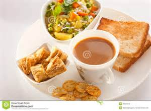Tea poha with bread and biscuit stock photography image 38531072