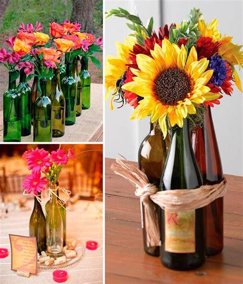 como decorar botellas de vino con flores ideas para decorar con botellas de vino ex 243 ticos centros