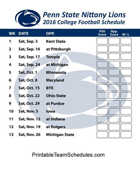 printable lions schedule 1000 images about big 10 football college team schedules